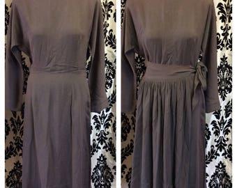 40's grey Rayon Dress with Wrap