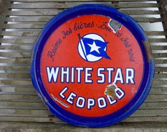 Vintage Tray, Enamel White Star Leopold Belgium Beer, Red Enamel Serving Tray, Advertising, Breweriana Man Cave Bar