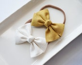 Linen Hand Folded Bow Headband Nylon Skinny Headband