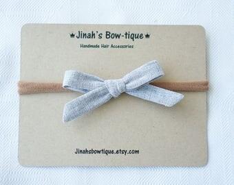 Linen Hand tied Hair Bow or Nylon Headband Petite Fabric Hair Bow -Grey- Schoolgirl Bow
