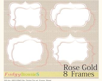 ON SALE Digital rose gold frame,rose gold Bracket Frame clipart, digital scrapbooking frames rosegold A-06,  Instant download