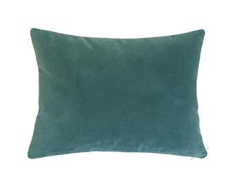 "Caribbean Green Velvet Suede Decorative Throw Pillow Cover / Pillow Case / Cushion Cover / 12x16"""