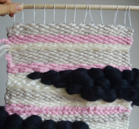 Wall Weaving, Yarn Wall Weave, Loom Weaving, Wall Hanging, Abstract Art, Bohemian Homes, Home Decor, Pink Wall Weaving, Cloud Weaving, Pink