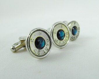 Bullet cufflinks blue paua shell and nickel plated brass cufflinks and pin 45 Auto