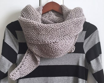 "Hand Knit Wrap ""Cool Grey Morning"""
