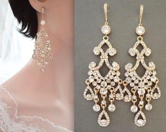 Gold chandelier earrings, Crystal chandelier earrings, 14k gold over Sterling ear wires, Brides earrings, Gold crystal wedding earrings,ABRI