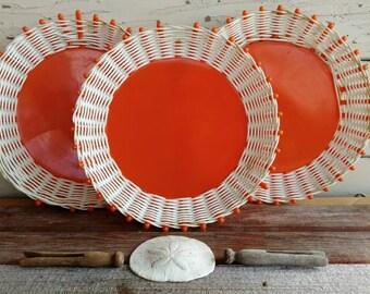 Kitsch Vintage Shocking Orange Plastic Picnic Plates - Retro Serving Ware, Let's Go Camping, Vintage Clearance, SALE on Vintage Camping