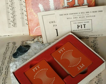 """Mid Century """"Pit"""" Card + Trading Game by Parker Brothers - Vintage Card Game, It's Game Night, The World's Liveliest Trading Game, Pit Cards"""