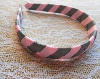 Gray and Pink woven headband