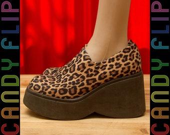 Vintage 90s Steve Madden Mega Platform Chunky Leopard Cheetah Stretch Comfy Mule Black Oxford Stretchy Stretch Women's Shoes 8.5 / 9