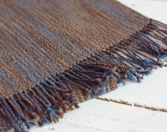 hand woven men scarf blue brown scarf for him READY TO SHIP