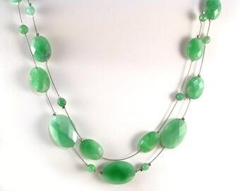 "Natural Green Burma Jade necklace, adjustable 19.5 "" to 21.5"""