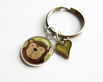 Monkey Keychain with Heart Charm, Cute Monkey Keyring, Monkey Gift, Animal Key Ring, Gift for Friend, Niece, Goddaughter