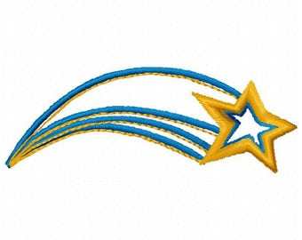 Shooting Star Machine Embroidery Design - Instant Download