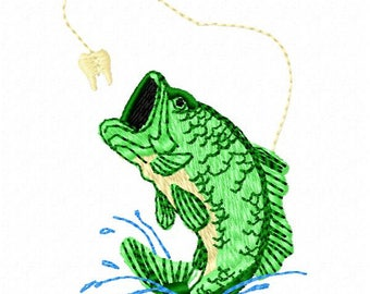 Bass Fish Machine Embroidery Design - Instant Download
