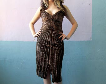 Vtg 70s Pleated Metallic Bombshell Dress / 70s Does Marilyn Monroe / Evening Party Gown / 50s Inspired