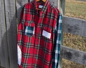Boyfriend Shirt Tartan Plaid Flannel, Reconstructed and Upcycled with Vintage Lace Womens Size Large Button Down Prairie Farm Girl Chic