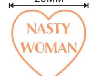 """Nasty Woman Enamel Lapel Pin 1"""" Heart White Rose Gold // PREORDER (might ship AFTER Christmas)"""