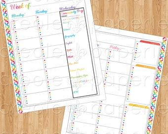 CC Foundations & Essentials/Wednesday Community Day Editable Printable Traditional BLANK Multi-Subject Homeschool Planner 2017-2018