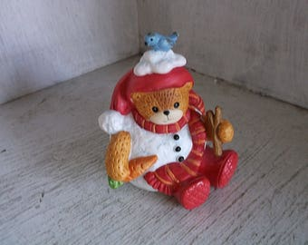 "Lucy and Me Snowman Bear with Carrot & Stick Figurine 3"" Lucy Rigg 1997"