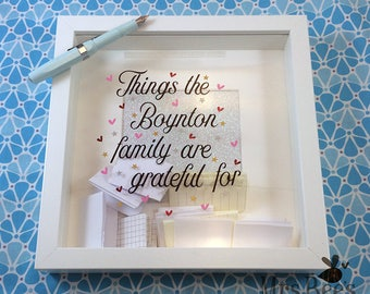 Personalized Family Gratitude Frame, love letter box, gratitude, mindfulness, being grateful, family love, new baby, wedding, anniversary