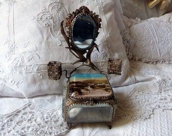 Antique ormolu box trinket box jewelry box French souvenir box from NICE silk padded cushion w mirror lipstick holders keepsake jewelry box