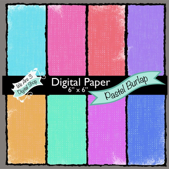 We Are 3 Digital Paper, Pastel Burlap