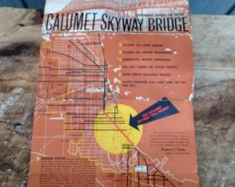 Vintage Chicago Brochure - Calumet Skyway Bridge - Travel Brochure - Chicago History