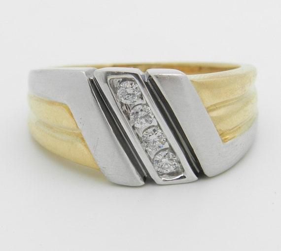 Men's Diamond Wedding Ring Anniversary Band 14K Yellow White Gold Size 11.75