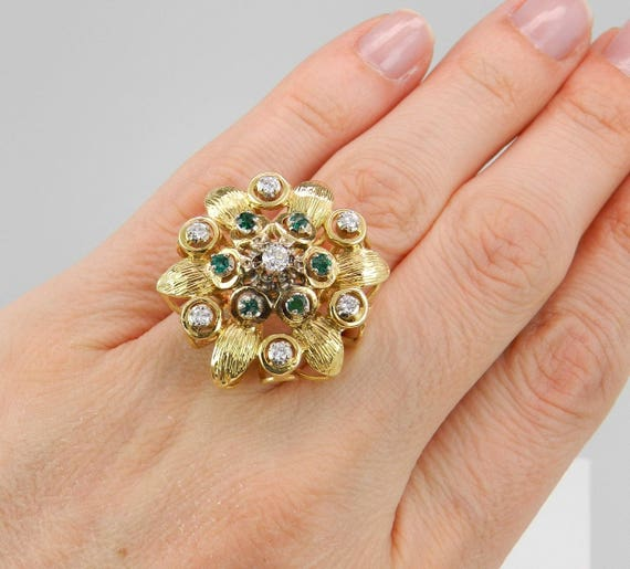 Diamond and Emerald Flower Ring Estate Vintage Ring 18K Yellow Gold White Gold Circa 1950's Size 6