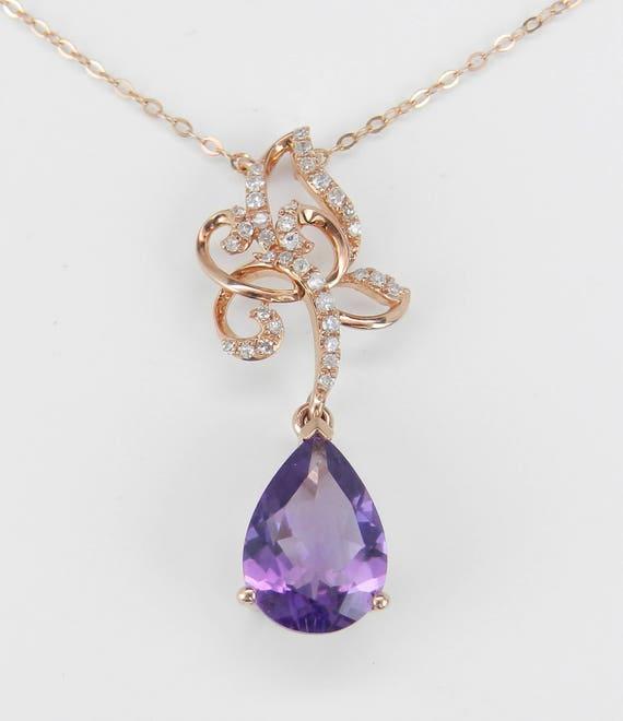"Diamond and Amethyst Drop Necklace Purple Pendant 18"" 14K Rose Gold Chain February Birthstone"