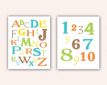Alphabet and Numbers Print Set - Teal Orange Brown Yellow Lime ABC's and 123's for Kid's Bedroom - Custom Nursery Art (5003)
