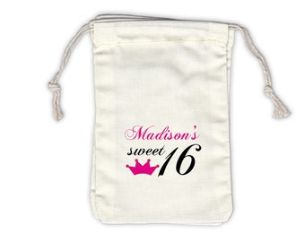 Sweet 16 Crown Cotton Favor Bags for Birthday Party, Quinceanera in Hot Pink - Ivory Fabric Drawstring Bags - Set of 12 (1013)