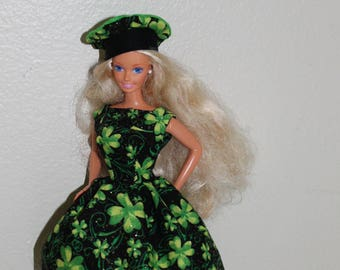 St. Patrick's Day dress and tam for 11 1/2 inch doll such as Barbie/REDUCED