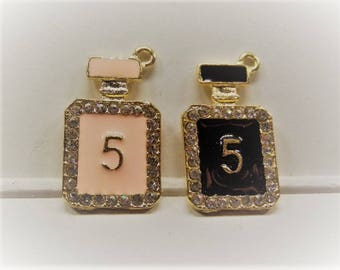 29mm*17mm Chanel No. 5 Inspired Charms, 2CT Pink or Black Y61