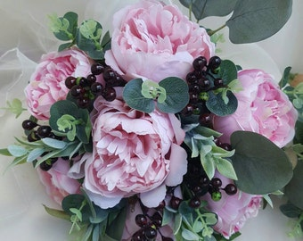 Bride, bridesmaid bouquet, wedding flowers, artificial wedding bouquet.  Pink peonies, berries, eucalyptus foliage.