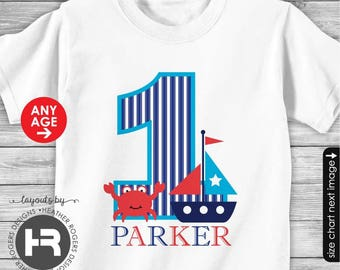Sailboat Birthday Shirt or Bodysuit - Personalized Nautical Birthday Shirt with child's age and name