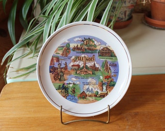 Vntg Illinois Collectable Decorative Souvenir Plate Illustrated