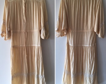 Vintage 1970's Dress natural cotton and lace Foxy Lady of San Francisco