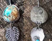RESERVED FOR DANAMAY Royston turquoise necklace, leaf necklace, monstera leaf, the wind carries her