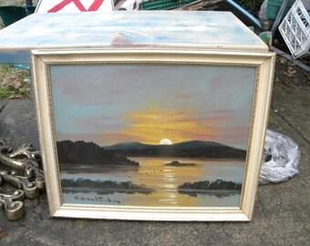 nice vintage antique 1930s or so artist signed NORRLAND SWEDEN SUNRISE sunset landscape oil painting on board
