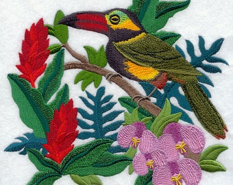 Toucan and Bromeliads Embroidered on Kona Cotton Quilt Block // Plain Weave Cotton Dish Towel // Also Available on Other Items