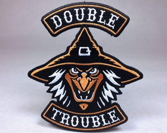 Double Trouble witch Halloween biker patch