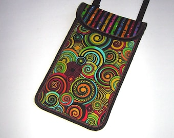 iPhone 6 Plus Case Neck Pocket Smartphone Purse Crossbody Cellphone Cover Small Shoulder Cute Mini Sling Bag handmade fabrics snail colorful