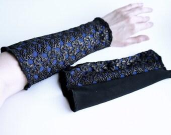 Wrist gloves royal blue black gold lace fingerless gloves sci futuristic accessory geometric modern arm sleeve cuff gloves blue gold sleeve