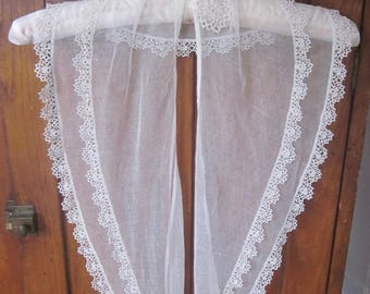 Antique Tulle and Tatting Fichu, Historical clothing, Period Costume,