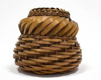 Vintage Bamboo Basket Pot,  Bohemian Home Decor