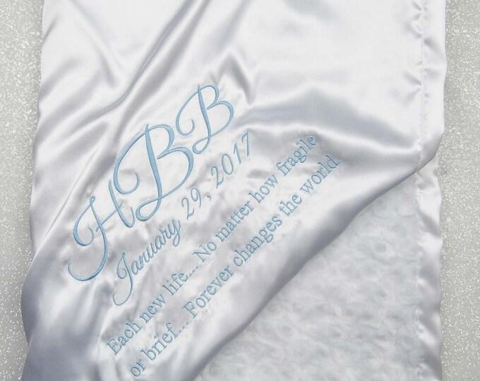 Baby blessing Blanket, Personalized blessing blanket, silky baptism blanket, baby boy, christening blanket, blue and white blanket