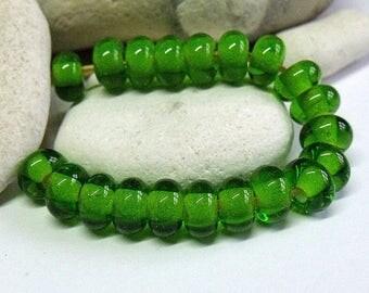 Green, Lampwork Spacer Beads, SRA, UK