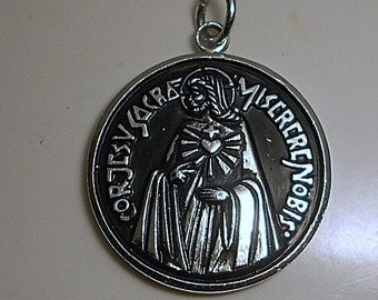 Vintage Sacred Heart of Jesus Medal Necklace